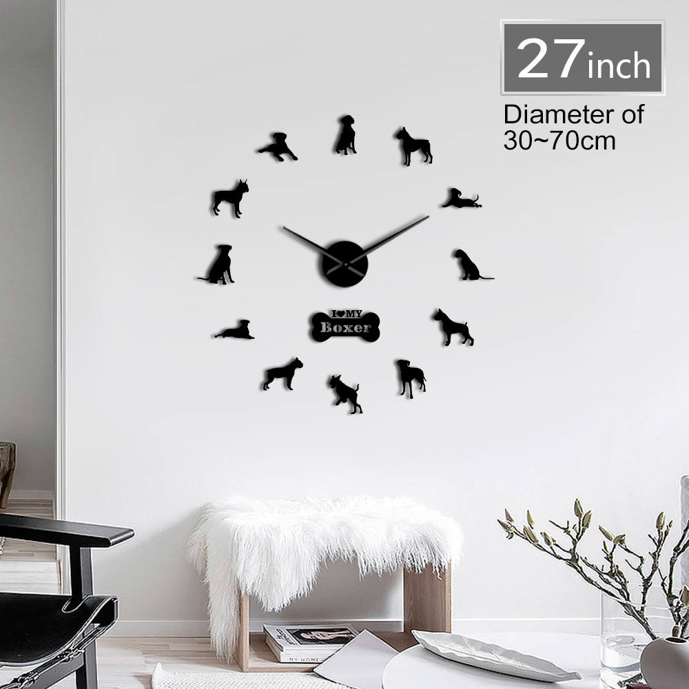 Boxer Dog Breed 3D DIY Wall Clock Living Room Unique Acrylic Design Gift Idea For Dog Puppy Pet Lover Personalized Clock Watch