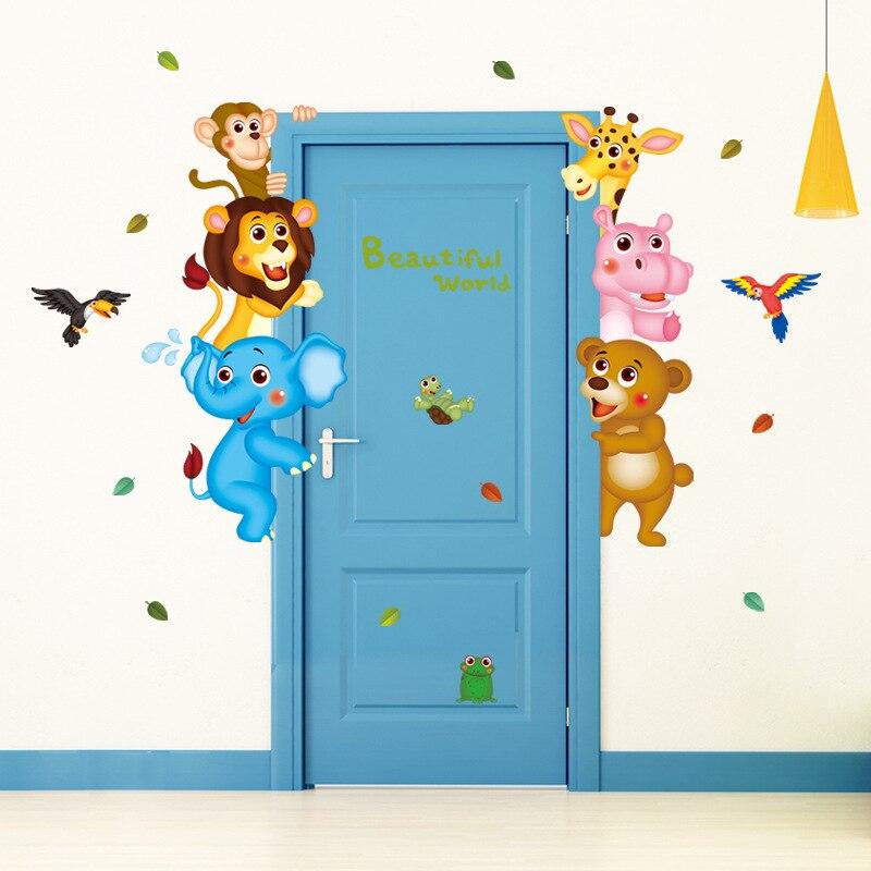 Cartoon animal world wall stickers children bedroom living room background decoration diy