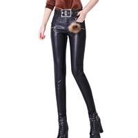 2018 Autumn Women Thin PU Leather Pants Capris Pants Trousers Women High Waist Black Stretch Pencil Pants Pantalon Femme YM1026