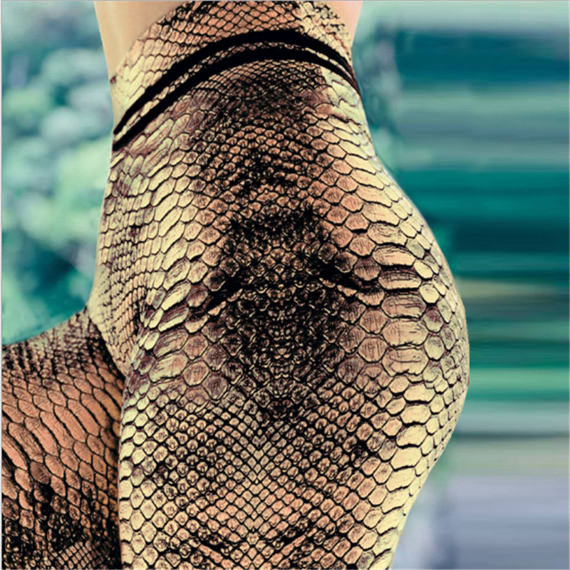New 2019 women Snake Print Leggings Push Up Elastic Workout Adventure Time Fitness leggings High Waist Bodybuilding Pants(China)