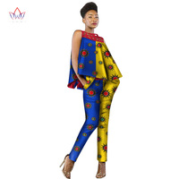 New Fashion African Dress Women 2 Pieces Set Women Sleeveless And Casual Tops Dashiki Print Pants African Women Clothing AT2339