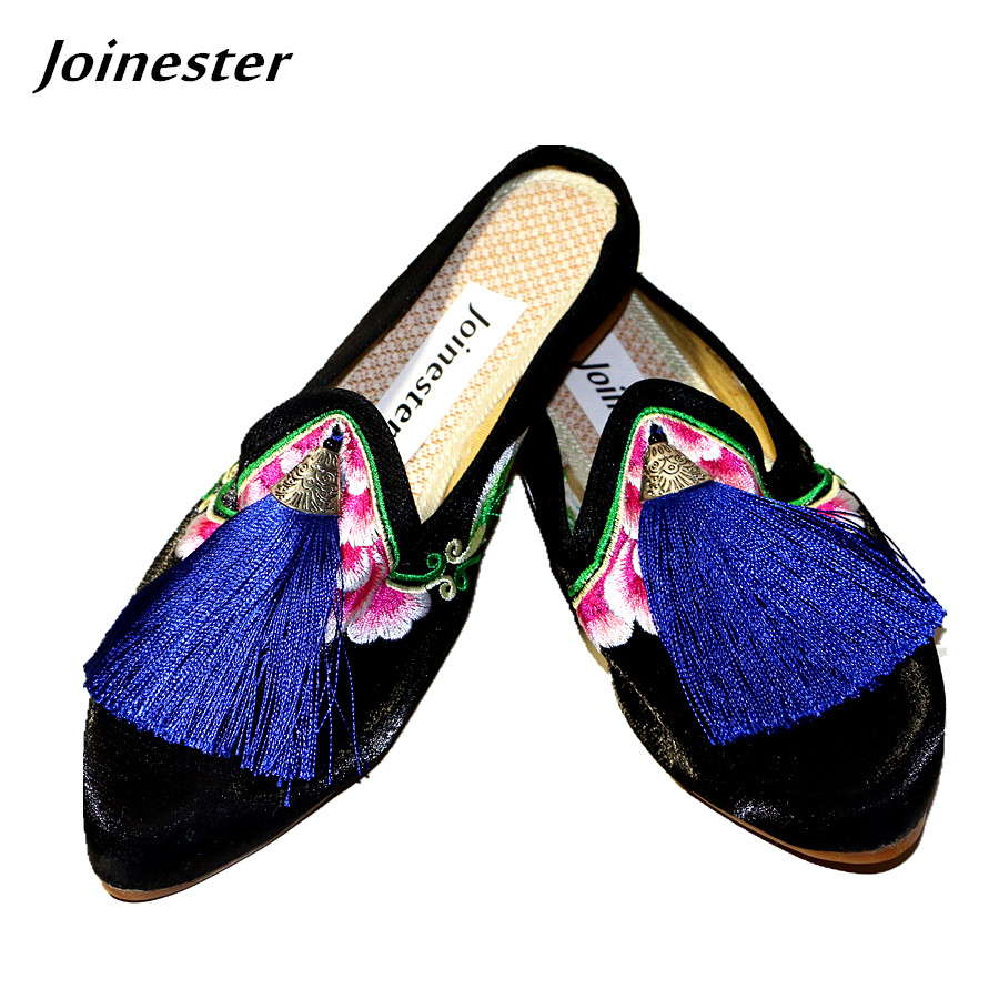 Vintage Fringe Satin Women Slides Pointed Toe Floral Embroider Ladies Pumps Slippers Ethnic Woman Casual Shoe with Tassel