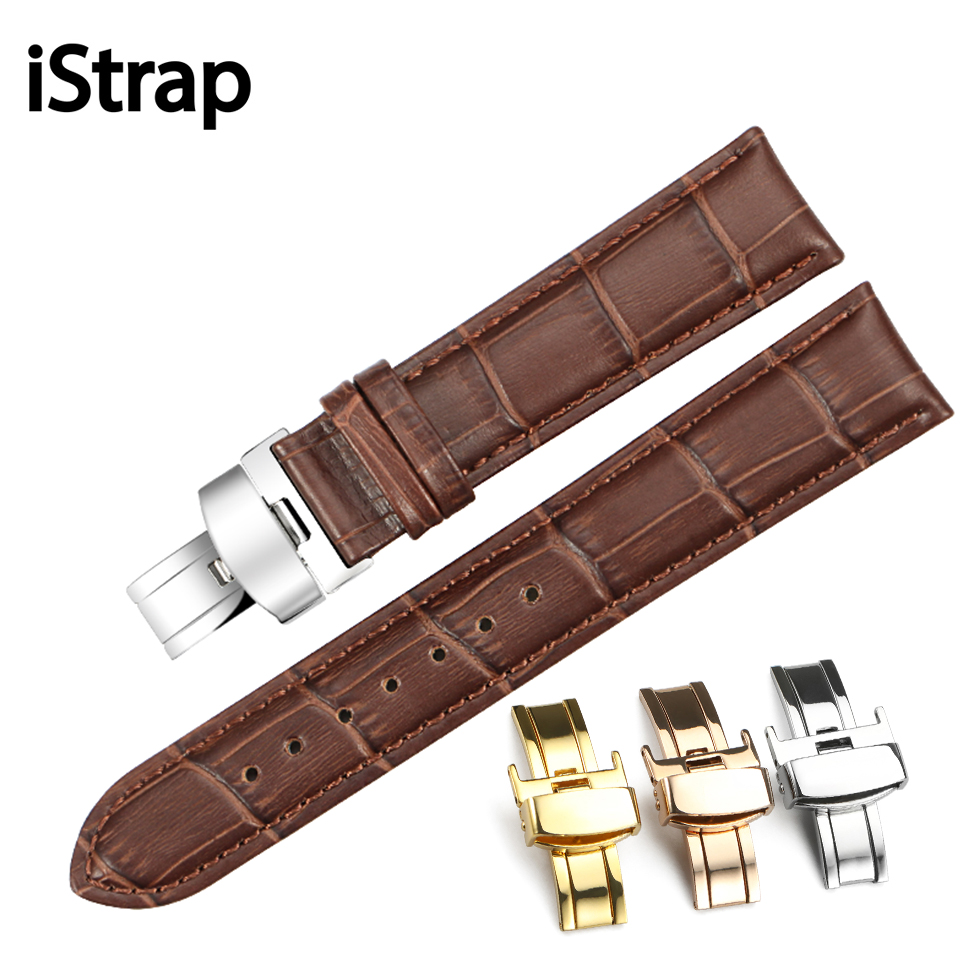 iStrap Pulseira Genuine Calf Leather Bracelet Black Brown Watch Band Padded Strap 16mm 18mm 20mm 22mm Watchband Belt for Tissot maikes 18mm 20mm 22mm watch belt accessories watchbands black genuine leather band watch strap watches bracelet for longines