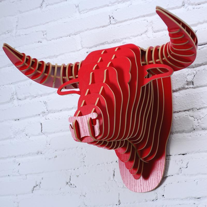 Bricolage tête de taureau en bois suspendu au mur famille café hôtel restaurant décoration européenne décoration nordique décoration de la maison