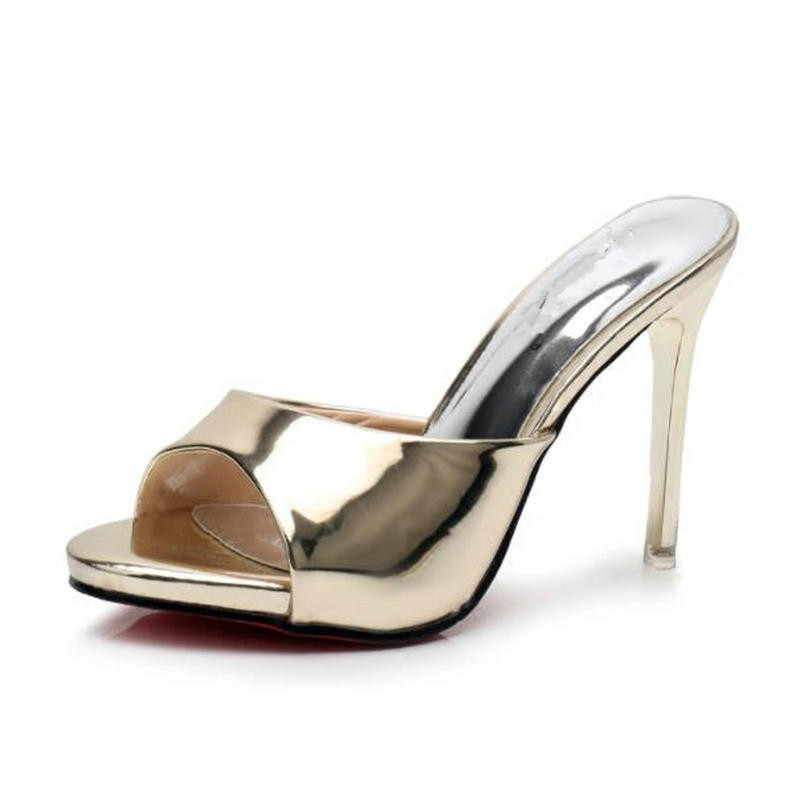 Patent Leather High Heels Slippers Fine Heels Fish Mouth Summer Sexy Sandals Gold Silver Sandals and