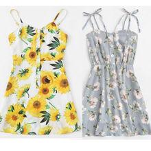 Женское платье в стиле бохо с цветочным рисунком, шифоновое летнее вечернее пляжное платье, Короткое мини-платье, сарафан, новая мода