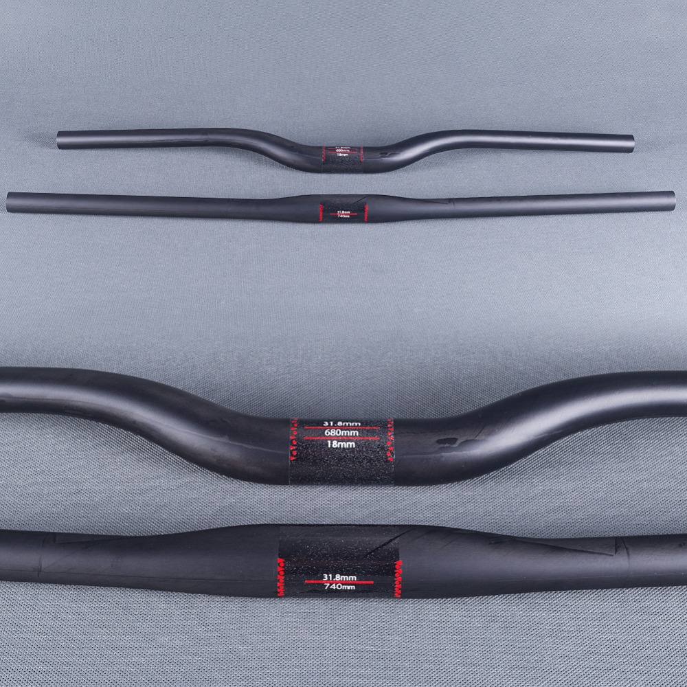 Matt Full UD Carbon Fiber Mountain Bicycle Riser Håndtak Flat Håndtak 31.8mm Sykling MTB P