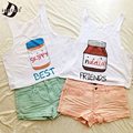 Dingtoll 2016 Cartoon Nutella Cute Printed Crop Tops Harajuku Kwaii Skippy Best Friends T shirt Tops Blusas S-XL  WCT24