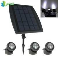 3 x White LED Solar Power Light Outdoor Waterproof Garden Pool Pond Path Road Decoration Security Lamp + 1 x Solar Panel