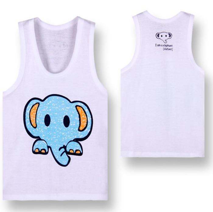 4 шт./лот хлопок футболки для грудничков детская футболка детская одежда детские футболки для мальчиков летняя одежда для девочек детские футболки детское платье без рукавов - Цвет: elephant