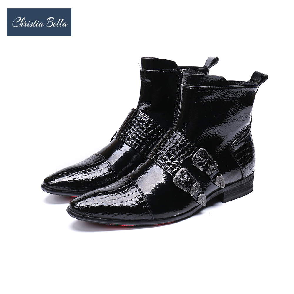 Christia Bella New Men Shoes Boots Western Cowboy Ankle Boots Men Pointed Buckles Black Leather Botas Hombre Runway Party BootsChristia Bella New Men Shoes Boots Western Cowboy Ankle Boots Men Pointed Buckles Black Leather Botas Hombre Runway Party Boots