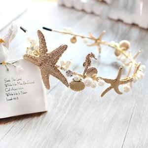 Image 4 - Rosebridalpark חדש חוף כוכב ים פגז סרט עבור כלות חתונה שיער אביזרי כלה מסיבת תכשיטי כיסוי ראש נזר T548