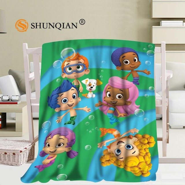 Custom Bubble Guppies Blanket Soft Fleece Diy Picture Decoration Bedroom Size 58x80inch 50x60inch 40x50inch