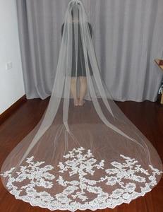 Image 3 - Bride Veils White/Ivory Applique Tulle 3 meters veu de noiva long wedding veils bridal accessories lace bridal veil v1105