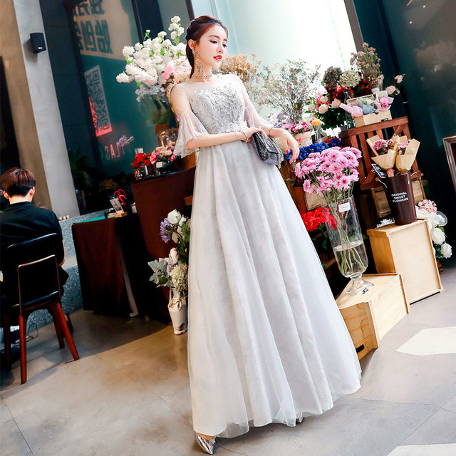 490e5650336c SexeMara Gray Lace Evening Party Dress with Trumpet Sleeves Semi Formal  Ball Gown Robe Maxi Dresses
