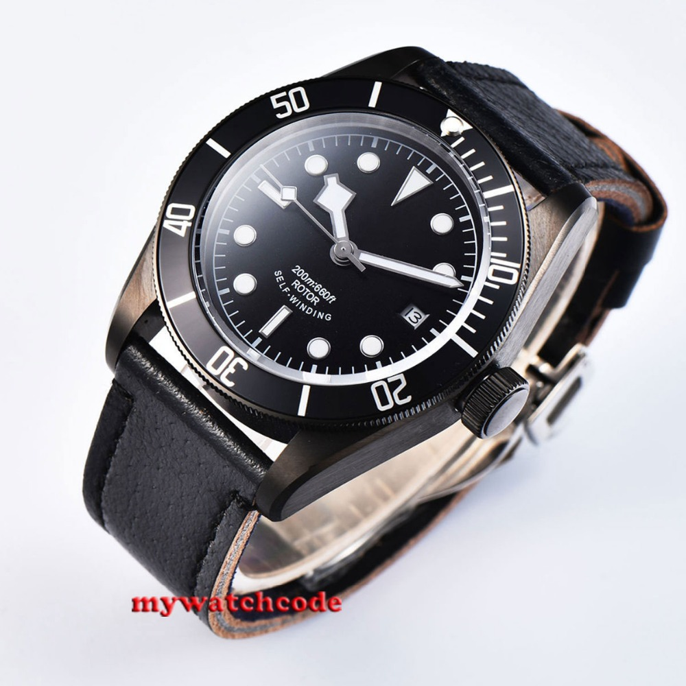 41mm corgeut black dial green luminous PVD case date window Sapphire Glass automatic mens Watch цена и фото