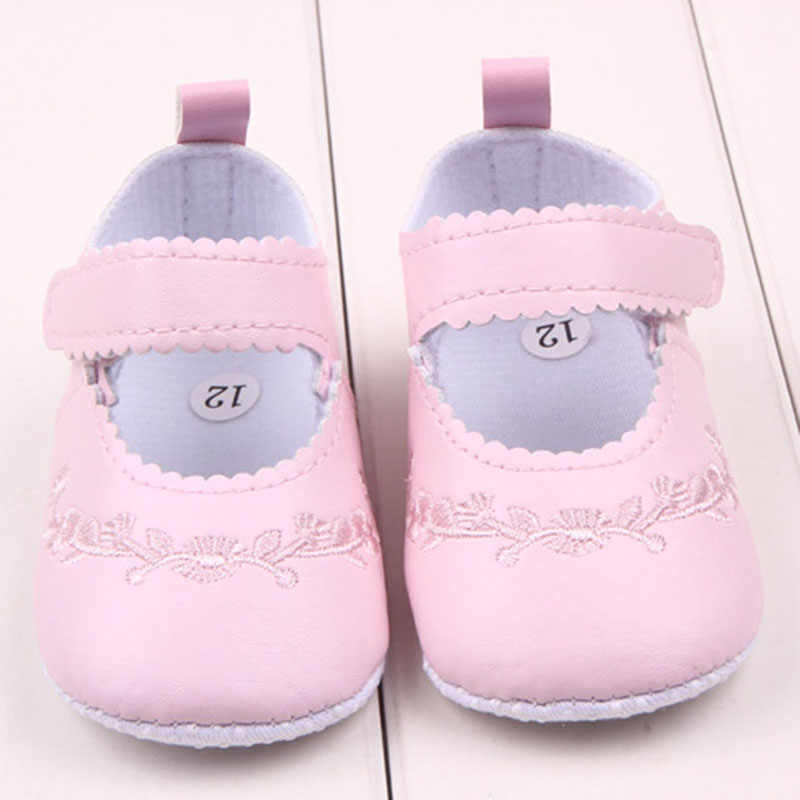 Newborn Baby Girl Cute Princess Crib Shoes Children  Pu Leather Comfy Outdoor Shoes Pink Black White First Walker for Infant