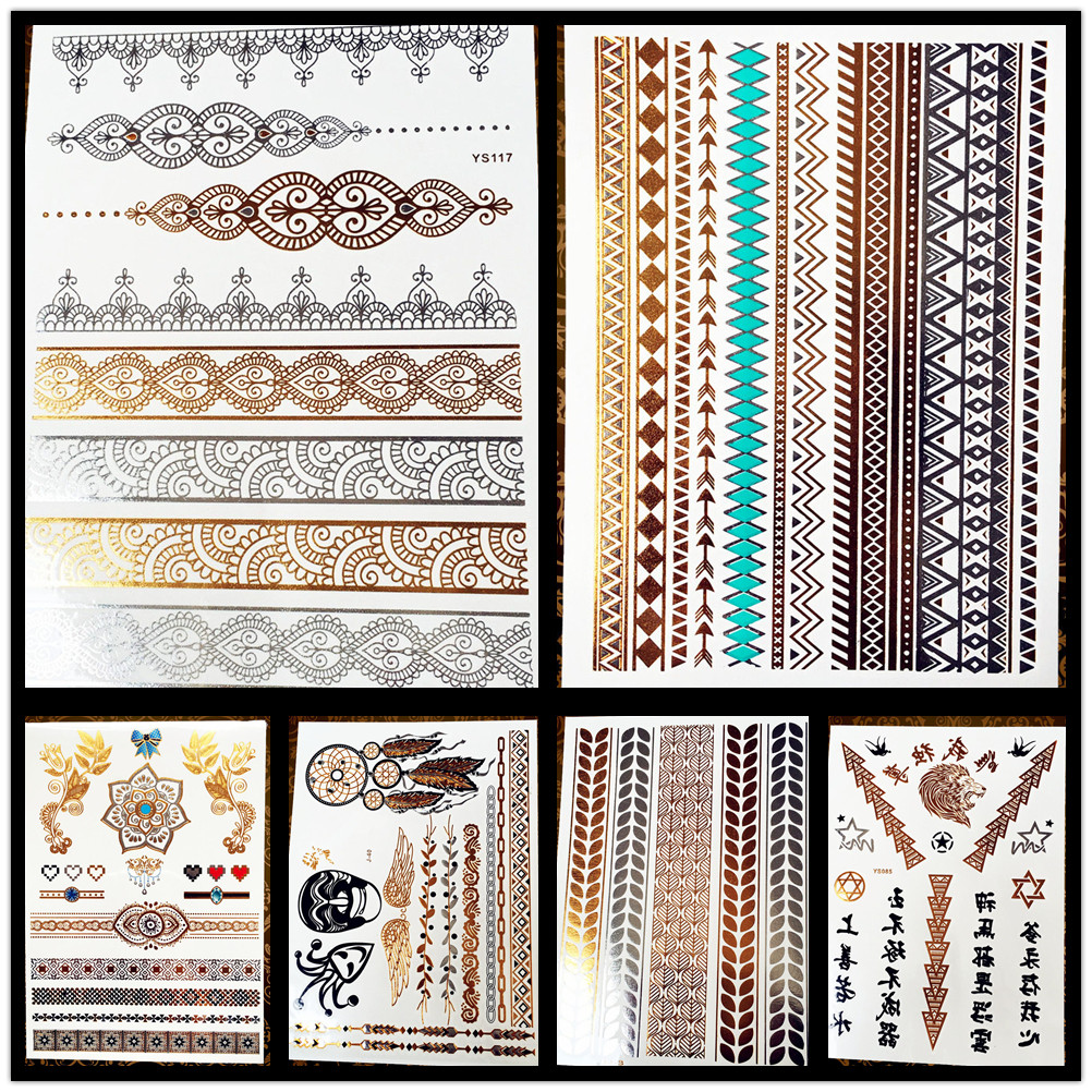 1PC Women Arm Sleeve Tattoo Indian Chain Tatoo Gold Silver Sun Flower Metal Temporary Tattoo Sticker Fake Bracelet HCT-205 G0510