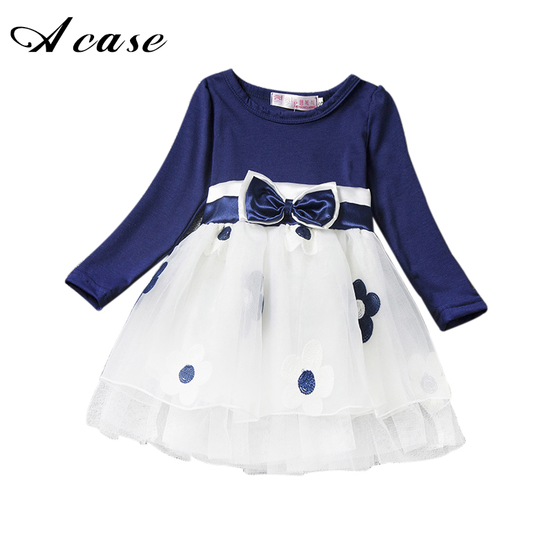 Spring Autumn Lace Cotton Baby Girl Dresses 2018 Long Sleeve Newborn Baby 1 Years Old Birthday Outfits Toddler Flower Mesh Dress warm thicken baby rompers long sleeve organic cotton autumn