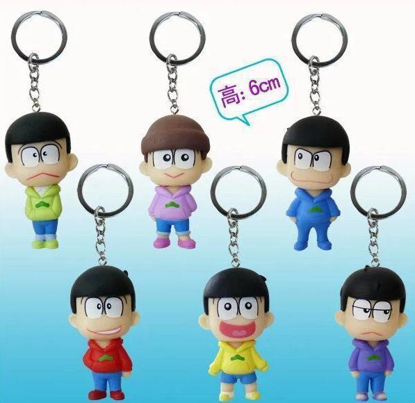 6pcs Keychain osomatsu-san Osomatsu,OSO,KARA ,CHORO,ICHI,JYUUSHI,TODO Action Figure PVC Collection Model toys for christmas gift