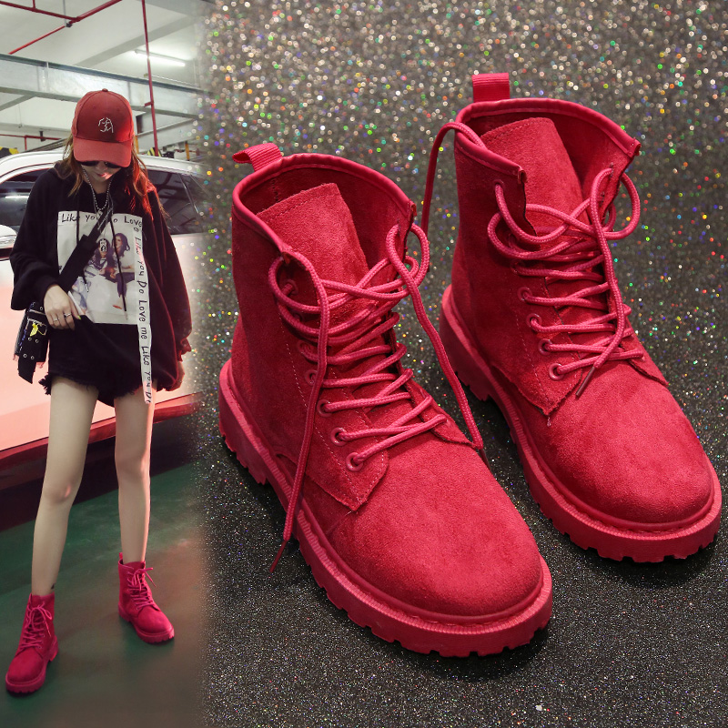 Red Retro And Fashion Women Ankle Boots Flock Sewing Female Martin Boots Solid Round Toe Flat Army Boots For Girl
