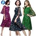 PIKB 2016 ПЛЮС РАЗМЕР 3xl шифон платья женская мода платье шелк элегантный тонкий печати платья КРАСНЫЙ ЗЕЛЕНЫЙ