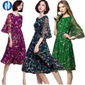 PIKB 2016 PLUS SIZE 3xl chiffon dresses fashion women dress silk elegant slim print dresses RED GREEN