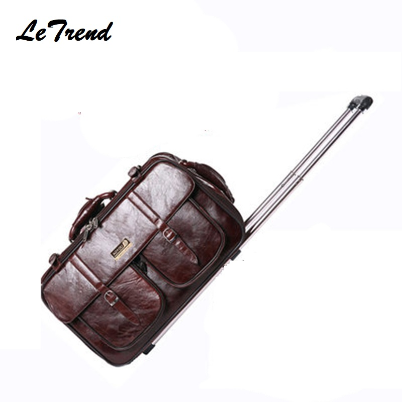 PU Business Men Business Travel Bag Multi function Suitcase Leather Carry On Women Rolling Luggage Trolley Boarding Bag Trunk