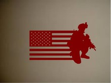 Army Military Soldier American Flag Vinyl Wall Sticker