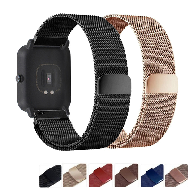20mm Bracelet For Amazfit Bip Strap For Huami Amazfit Gts Pace Stratos Strap Metal Steel For Huawei Watch Gt Honor Magic Band