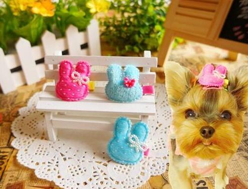 Pet Grooming Hair Clipper Dogs Cats Clips Dog Hairpin The rabbit head Pearl bowknot hairpin 30pcs/lot