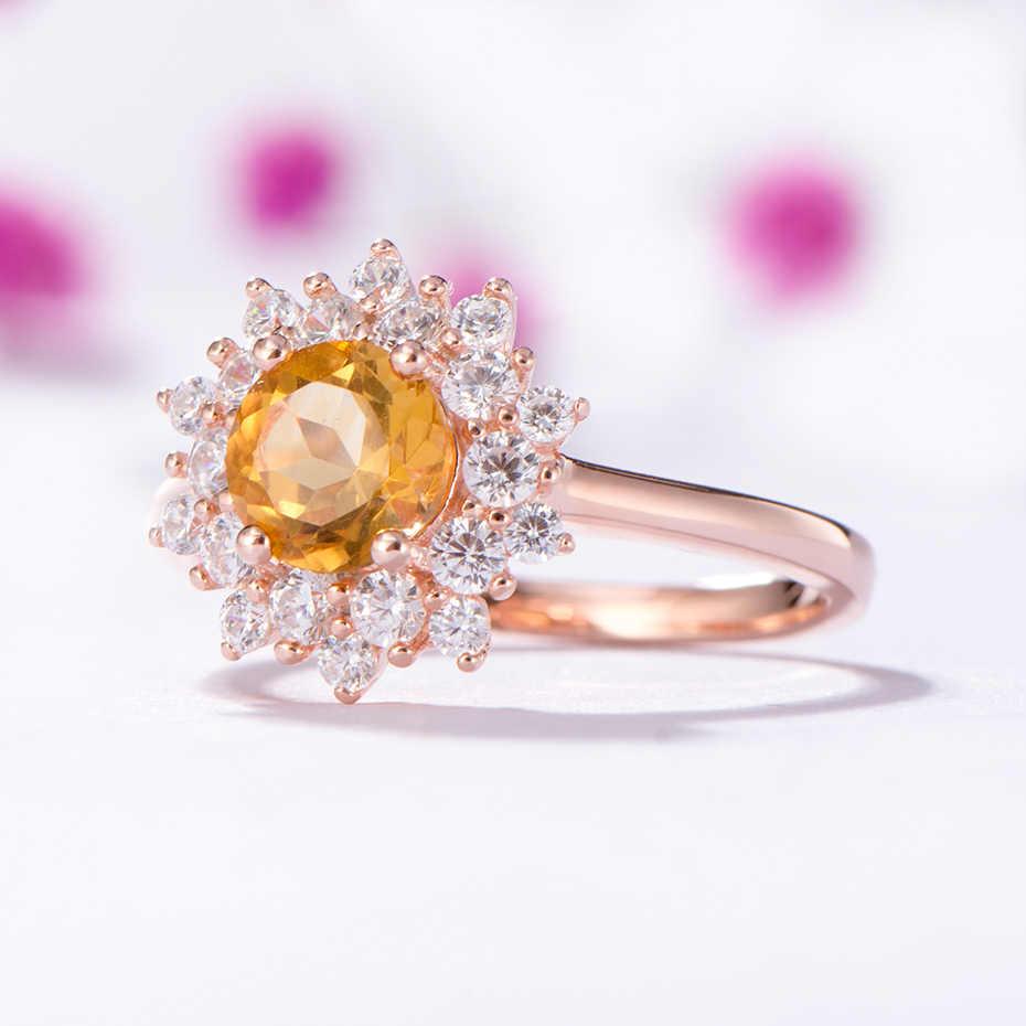 Kuololit อัญมณี Citrine ธรรมชาติแหวนผู้หญิง 925 เงินสเตอร์ลิงหินกลม Rose สีแหวนเครื่องประดับ