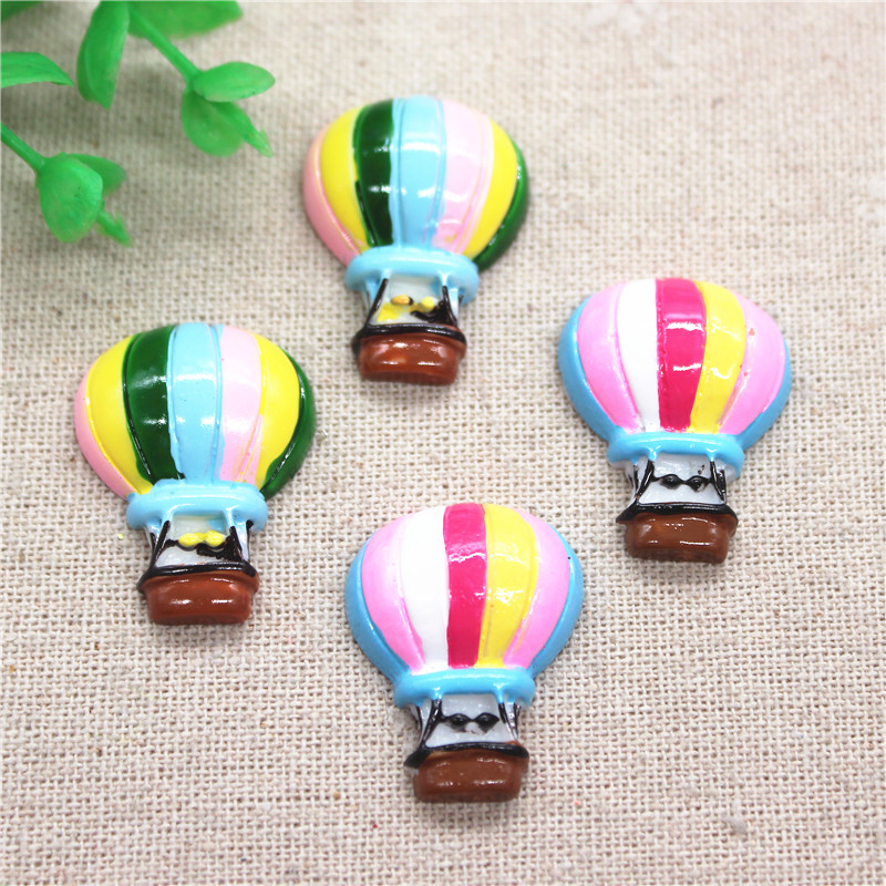 10pcs 22*28mm Kawaii Resin Colorful Hot Air Balloon Flatback Cabochon Miniature Art DIY Craft Accessories