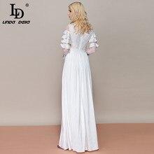 Fashion Designer Long Sleeve Maxi Dress Women's Bow Collar Ruffles White Long Dress Elegant Party Formal Dresses