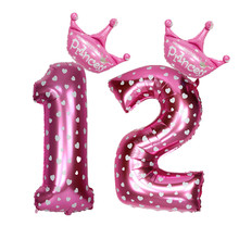 2pcs/lot 32 Inch Blue/Pink crown Number Balloons Digit Balloon 0~9 Kids One First Year Old Boy Girl Birthday Party Decoration