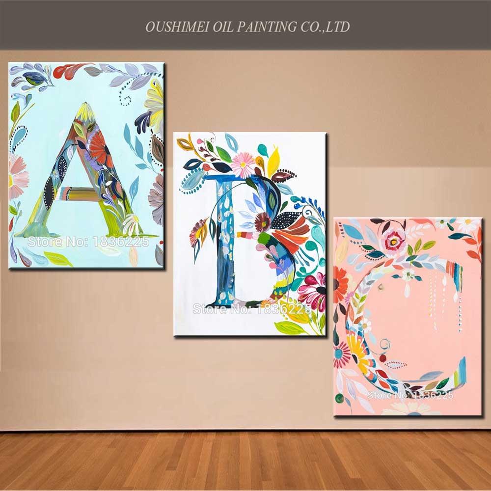 Idées pour la peinture sur toile nouveau tissu peinture dessins lettres  peintures à l\u0027huile sur toile pas cher toile peinture pour chambre dans  Peinture et