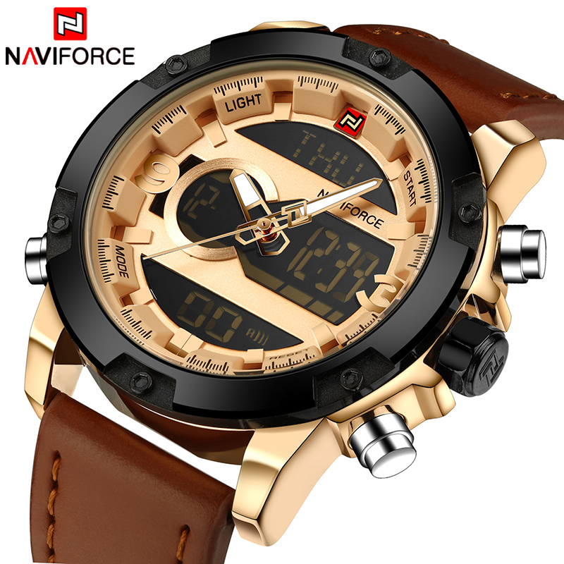 49aceaa61f4 Top de Luxo Da Marca NAVIFORCE Homens Esporte Relógios de Quartzo dos homens  LEVOU Relógio Analógico