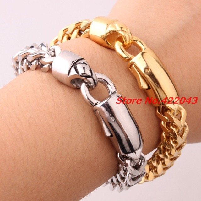 "8.85"" 316L Stainless steel bracelet for men unisex jewelry for women bangles pulseira masculina Figaro Chain ,High Quality Chain"