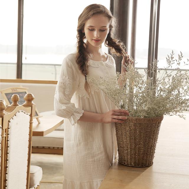 Moda 100% Camisola de Algodão Feminino Princesa Real Sleepwear Camisola de Verão Bonito Doce Plus Size Solta Meia Manga Salão