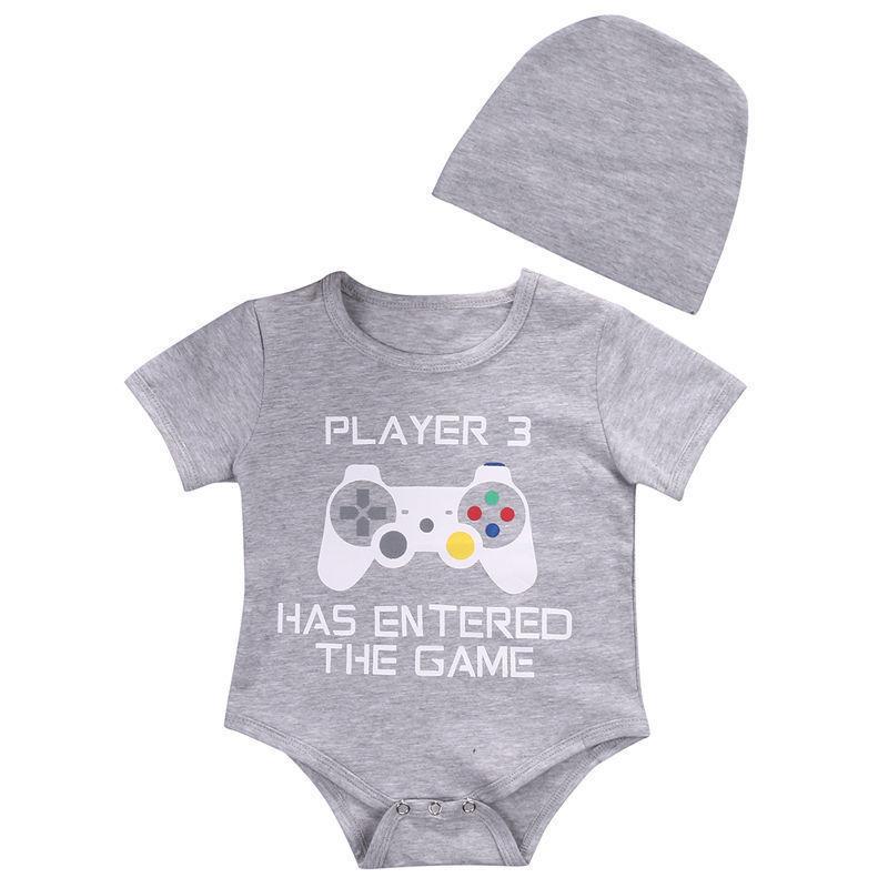 Aufrichtig 0-24 Mt Neugeborene Jungen Kurzarm Spieler Print Baumwolle Baby Body Overall Stirnband 2 Stücke Outfits Kleidung