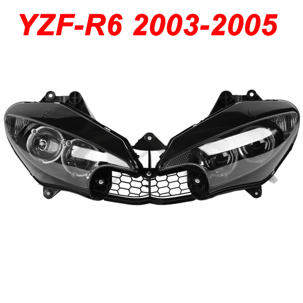 For 03-05 Yamaha YZFR6 YZF R6 YZF-R6 Motorcycle Front Headlight Head Light Lamp Headlamp CLEAR 2003 2004 2005 abs plastic speedometer gauge case cover for yamaha yzf r6 yzf r6 2003 2004 2005 tachometer