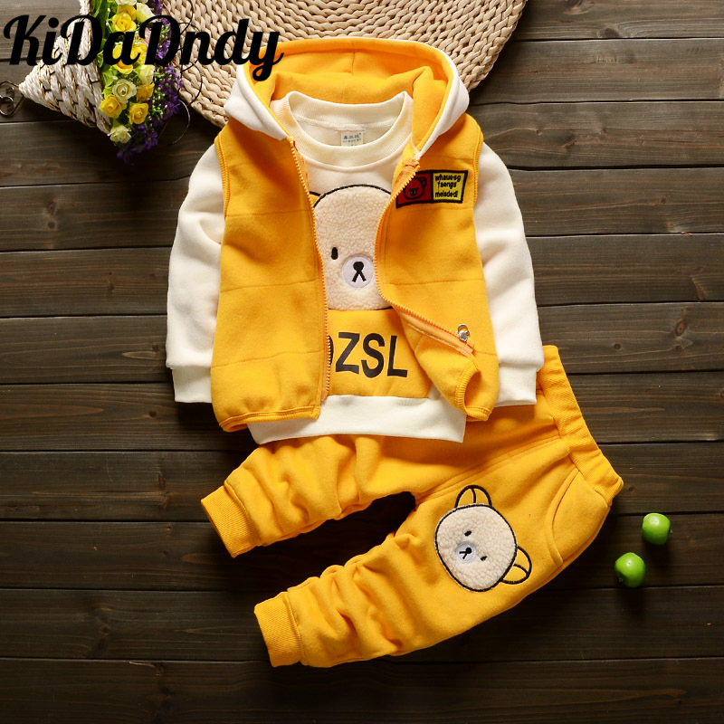 girls clothing set Cartoon bear Winter boys and girls plus velvet thick three sets of young children cute suit GXJ085 цена