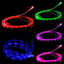 Smile Grow LED Micro USB Cable Light Noodle Flat Microusb Charger Cord for Samsung HTC Android iPhone 5 5S SE 6S 7 8Plus