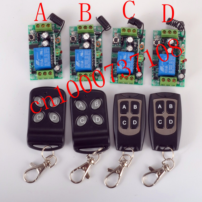 NEW 12V 1ch rf wireless remote control light switch system 4 Receiver & 4 Transmitter 315mhz/433mhz z-wave free shipping
