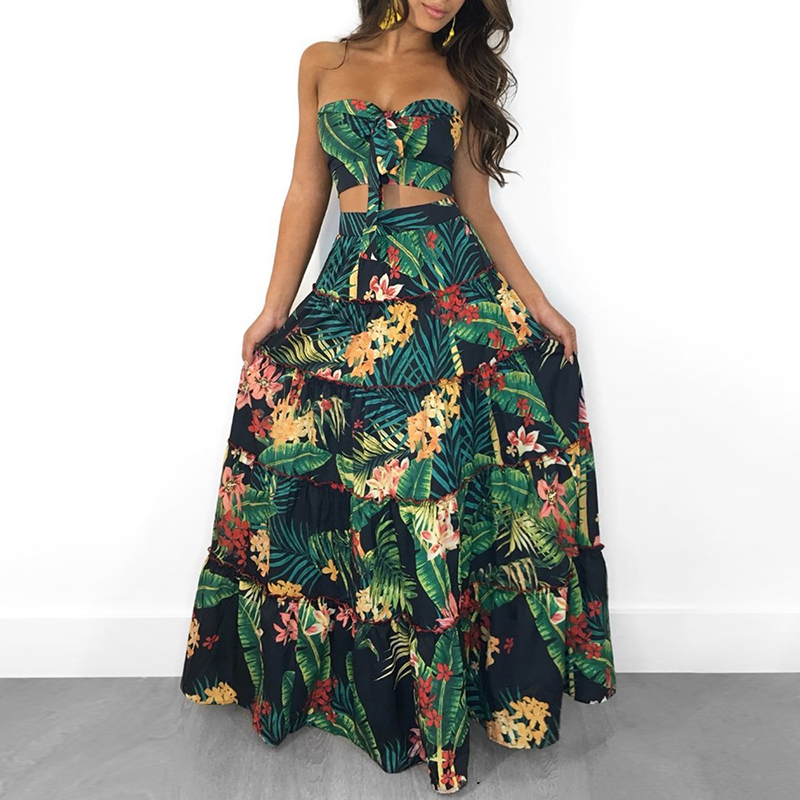 2018 Summer New Fashion Sexy Women Strapless Two Pieces Dress Suit Set Tropical Print Tube Top&Maxi Skirt Set