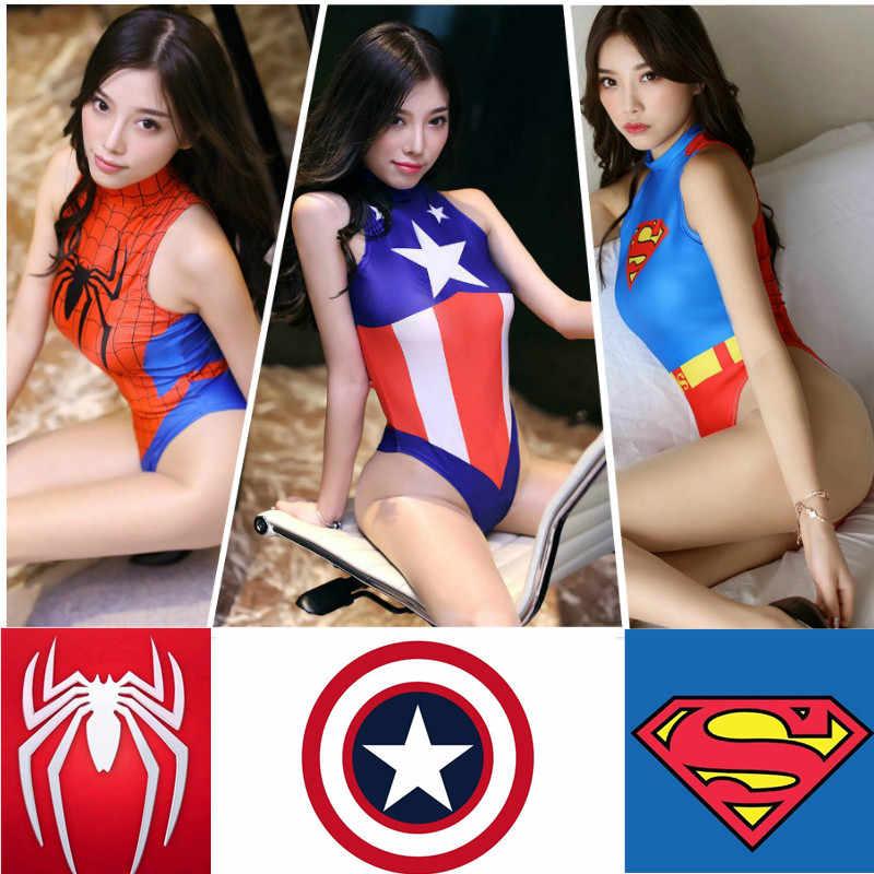 Мстители сексуальный купальник женский косплей костюм Человек-паук Капитан Америка Супер Герои Монокини Супермен Хэллоуин Взрослый sukumzu