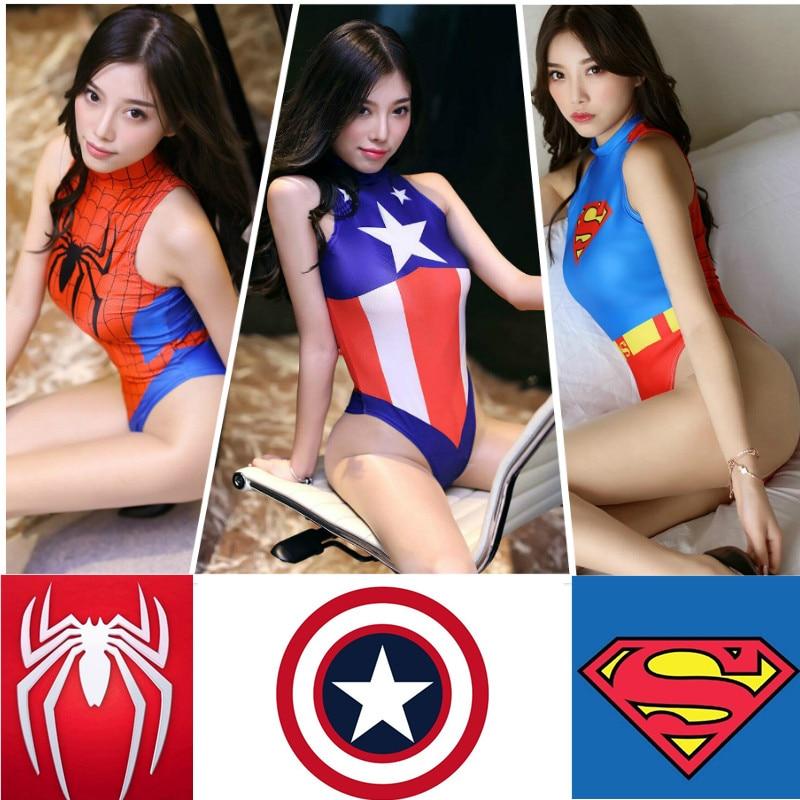 Sexy Badeanzug Erwachsene Cosplay Kostüm Spiderman Captain America Super Heroes Superman Halloween Mädchen Frauen Spinne SUKUMIZU Strampler