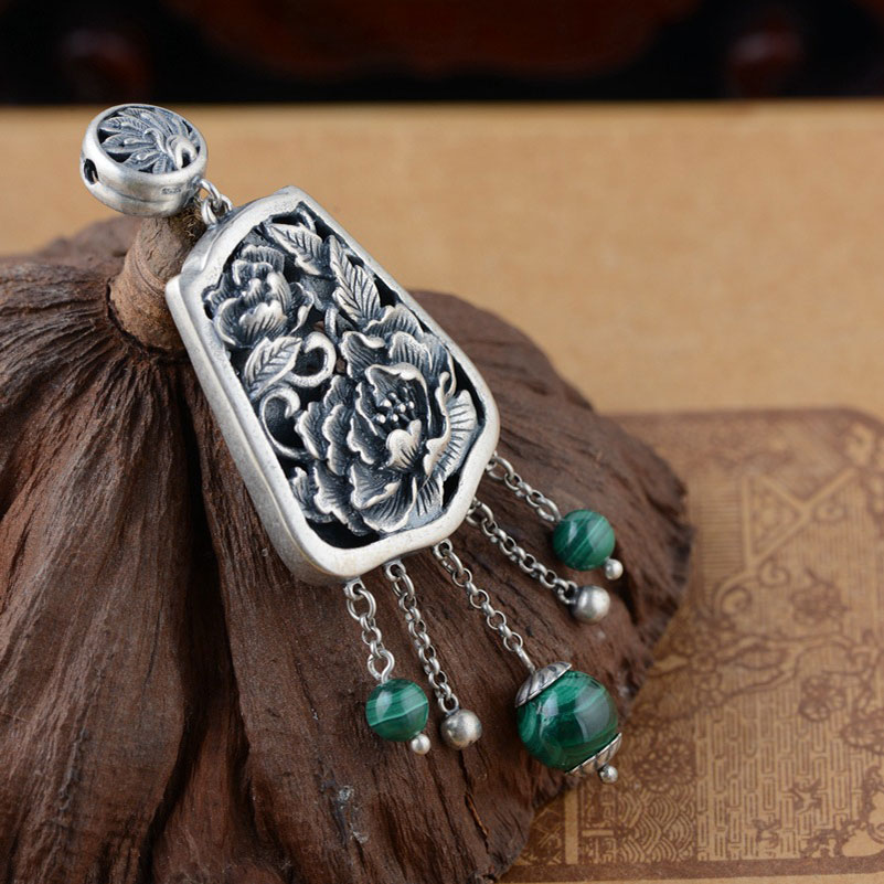 FNJ 925 Silver Peacock Pendant Natural Green Stone 100% Pure S925 Solid Thai Silver Pendants for Women Men Jewelry MakingFNJ 925 Silver Peacock Pendant Natural Green Stone 100% Pure S925 Solid Thai Silver Pendants for Women Men Jewelry Making