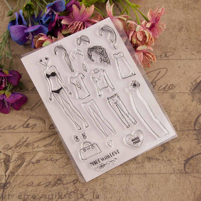 جميلة فتاة اللباس واضح طوابع لسكرابوكينغ DIY سيليكون الأختام ألبوم صور النقش مجلد ورقة صانع قالب الحرف