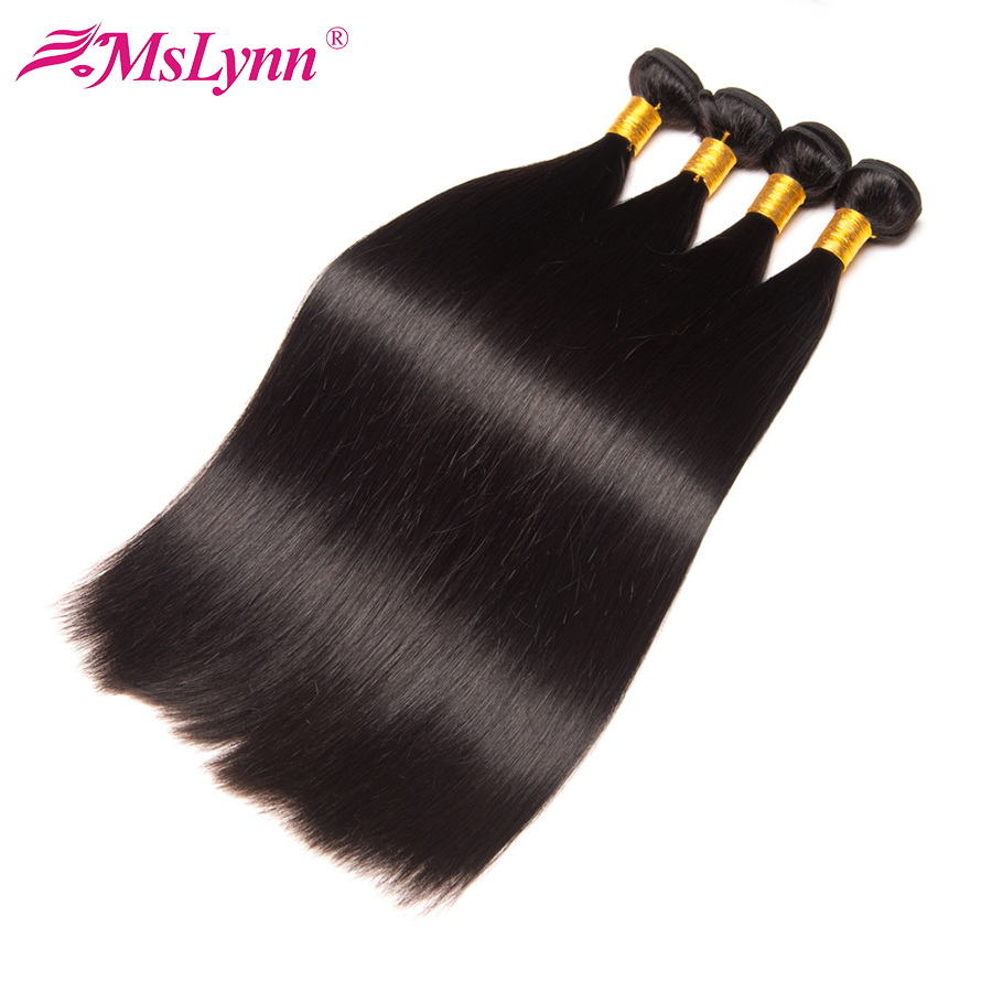 Straight Hair Bundle Deals Indian Human Hair Weave Bundles Mslynn Non Remy Hair Extensions Double Weft